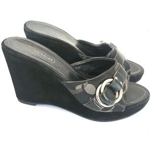 Coach Merridith wedge heels with logo buckle strap